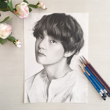 人物 鉛筆画 アーティストの写真を使用させていただきました。