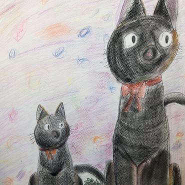 ジジとジジママ 小学2年生。色鉛筆画