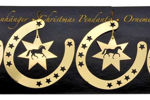 Gold Horseshoe Pendants, Set of 4