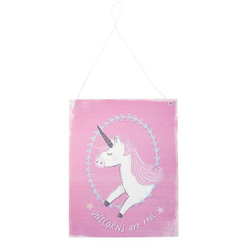 "Pink ""Unicorns are Real"" Metal Sign"