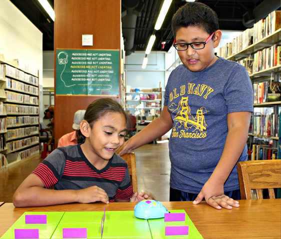 Julian and Jerry used the Code and Go Robot Mouse at the City Hall Library to learn the basics of coding.