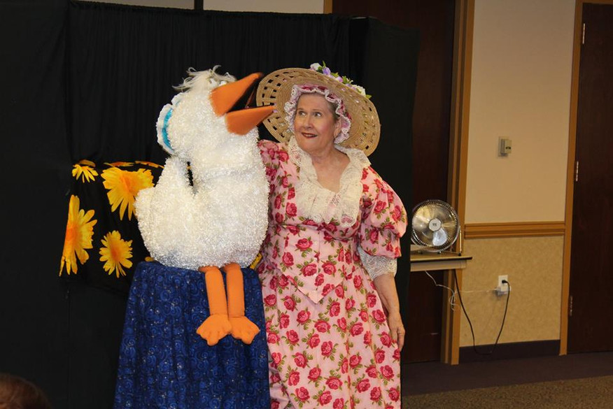 Nancy Jean and her puppets delighted the audience with songs and rhymes during her show, Mother Goose & Friends at the Aliante Library.