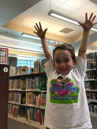 Baldur is so excited!  He just completed the 1000 Books Before Reading Challenge and received a free t-shirt and a free book!
