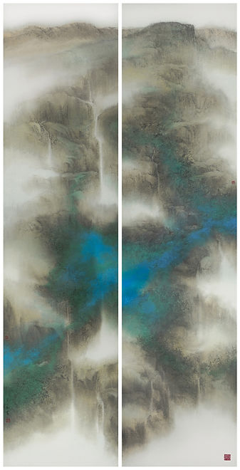 Luxuriant Vision蔚然深秀  Ink and Color on Paper  141 x 35 cmx 2 (A set of 2 panels) 2017  byMr. YUNG Chee-mun 容子敏