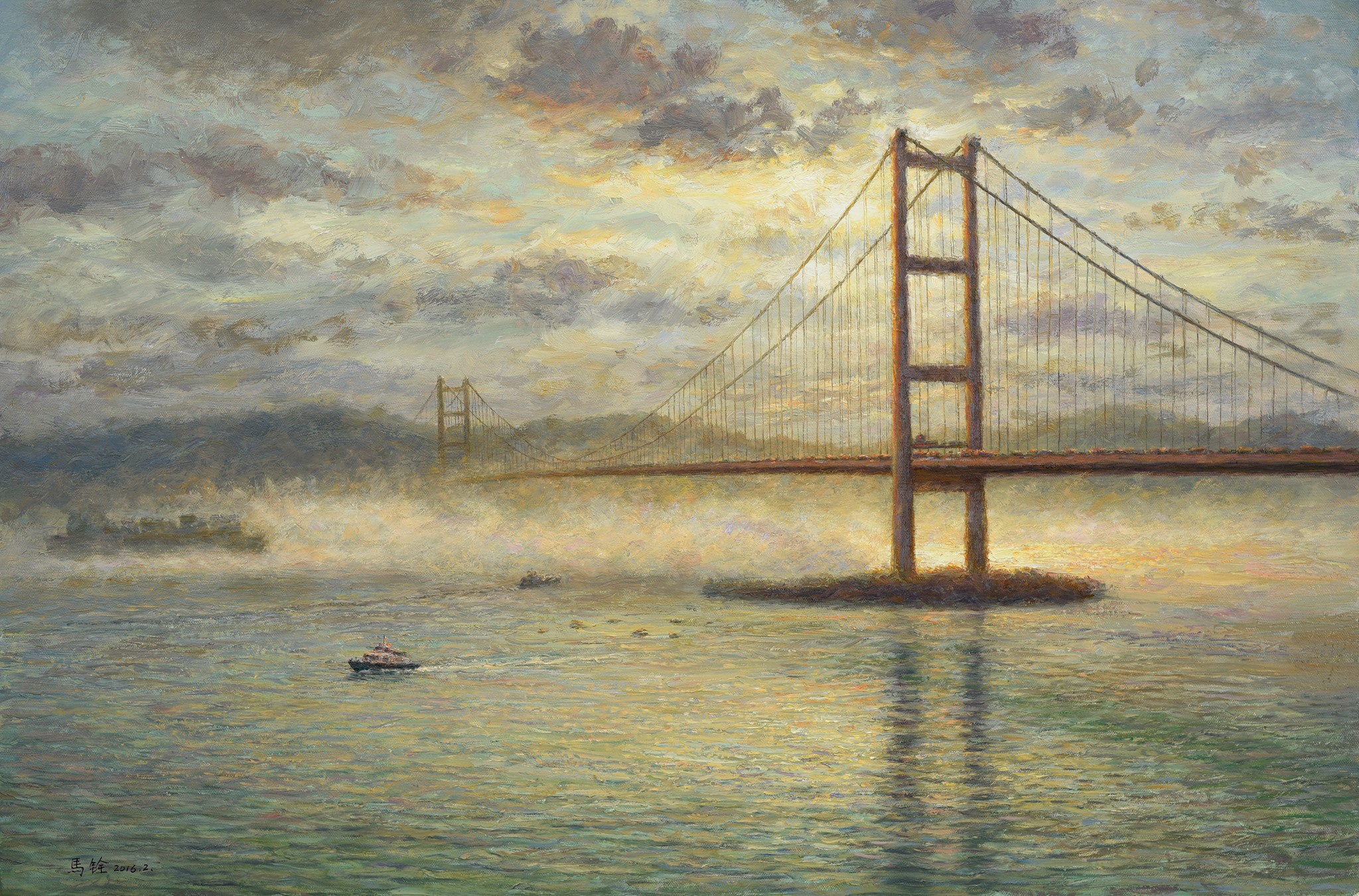煙靄中的光芒 青馬大橋