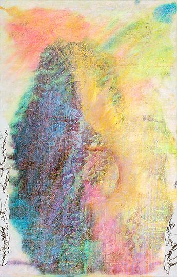 Radiance of Joy 愉悦之光  (Ray of Light series) Acrylic andMixed Media on Canvas 70 x 140 cm 2018  byMs Mediha Ting 定光琴