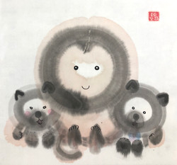 Monkey daddy and the twins (Hong Kong)