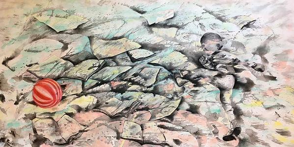 Let's Break the Hectic  (Let'em Play Series)  Ink, Charcoal, Pastel, Watercolor on Paper  76x 152cm 2018  byMs LIU lai-ue, Zoe 李澧榆
