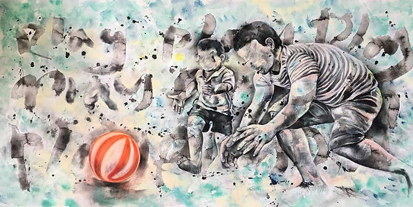 Play! Play! Play!  (Let'em Play Series)  Ink, Charcoal, Pastel, Watercolor on Paper  76x 152cm 2018  byMs LIU lai-ue, Zoe 李澧榆