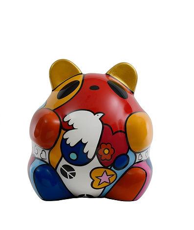 """PO"" - Ltd Ed 4  (Jungle pop Panda) Resin, Fiberglass & Marble powder  Size L 87x80x102cm(WxLxH) 27kg  2018  byMs Adeline Buenaventura"