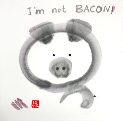 I'm not BACON !   非燻肉也  Ink and Color on Paper  33 x 33 cm 2018  by Ms TK Chan 陳紫君