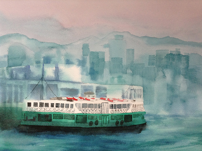 Tsim Sha Tsui Pier after raining in Summer