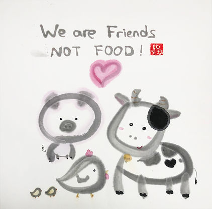 We Are Friends Not Food !  無我•食譜  Ink and Color on Paper  33x 33cm 2018  byMs TK Chan陳紫君