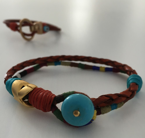 Authentic Leather Bracelet With Genuine Turquoise Stones Gold Metal Additions