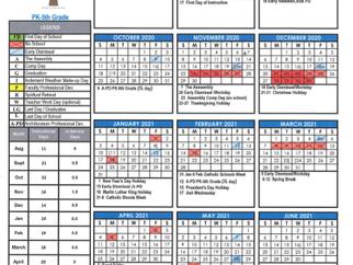 2020 - 2021 School Calendar