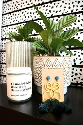 Plants, Flamingo Earrings, Candles