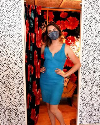 1980's Suede Teal Dress