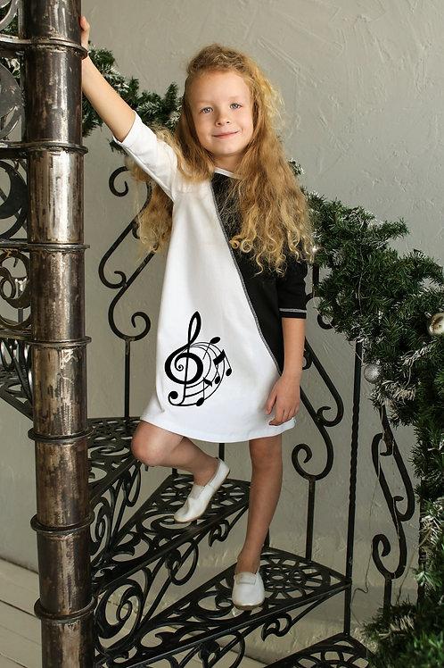Платье черно белое со скрипичным ключем