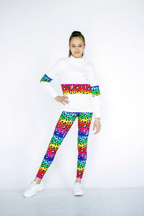 """Толстовка для девочки со вставками """"Разноцветная кошечка"""""""