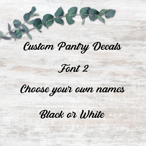 Pantry Decals - Font 2