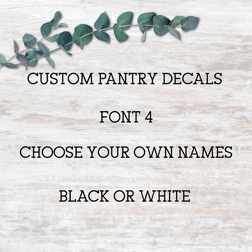 Pantry Decals - Font 4