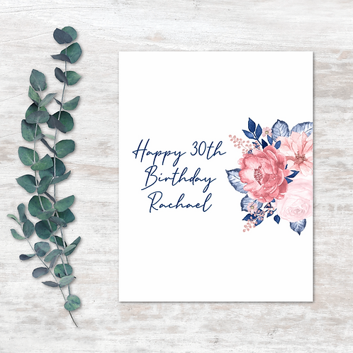 Pink and Blue Floral Chocolate Wrapper