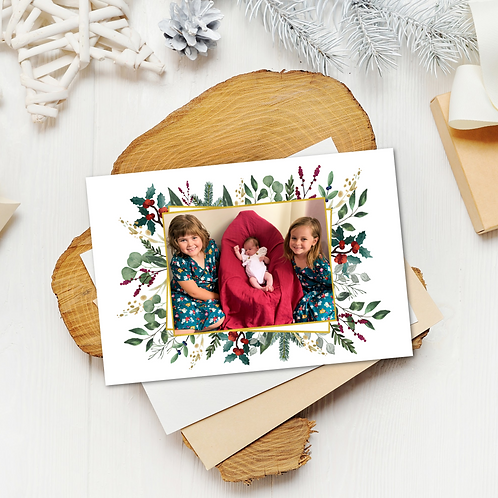 Christmas Card Gold Foliage