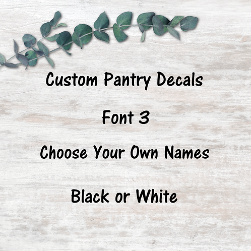 Pantry Decals - Font 3