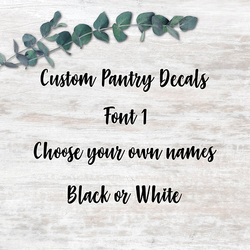 Pantry Decals - Font 1