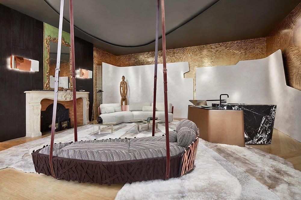 интерьер гостиной с зоной кухни, AD Interior в Париже, дизайн Bismut et Bismut