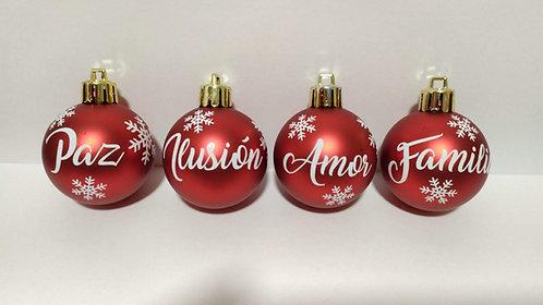 Pack de cuatro bolas de navidad (6cm)