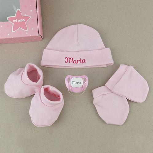 Cesta recién nacido rosa