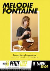 Samedi 20h (19h couvre-feu) - Mélodie Fontaine - De manière plus générale