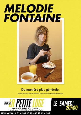 Samedi 20h - Mélodie Fontaine de manière plus générale