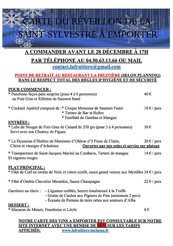 CARTE A EMPORTER LA FRUITIERE 31.12 2020