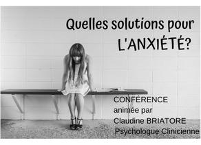 Conférence: Quelles solutions pour l'anxiété?