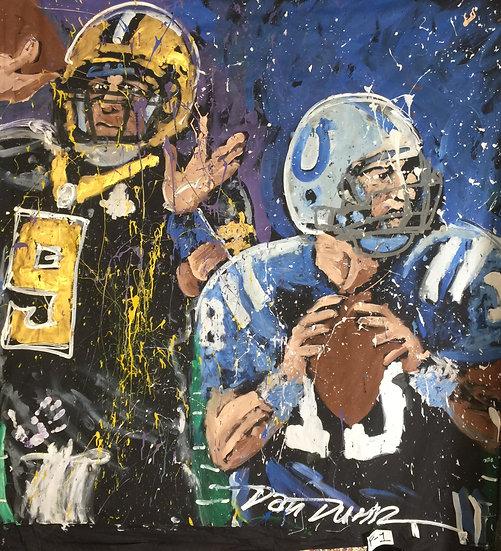 "72""x72"" Super Bowl Saints v Colts Acrylic on Theatrical Muslin"