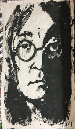 "24""x36"" John Lennon Acrylic on Theatrical Muslin"