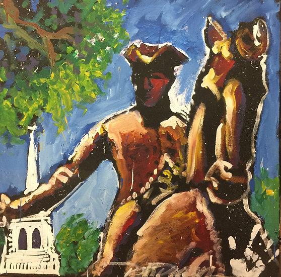 """36""""x36"""" Paul Revere Acrylic on Canvas"""