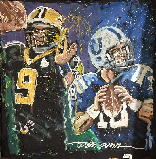 "72""x72"" Super Bowl Saints v Colts Acrylic on Theatrical Muslin"