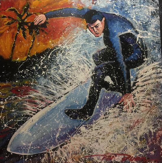 """48""""x48"""" Surfer Acrylic on Canvas"""