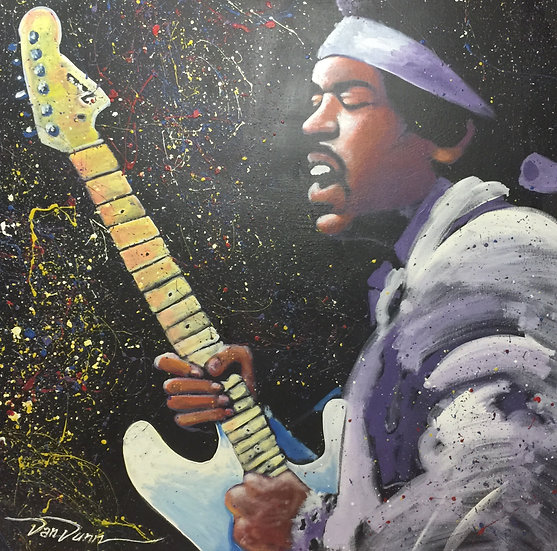 "48""x48"" Jimi Hendrix Acrylic on Canvas"