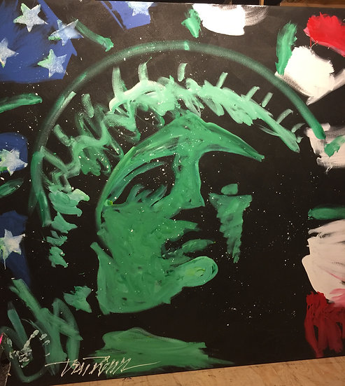 "Lady Liberty 72""x72"" On Stretched Canvas"