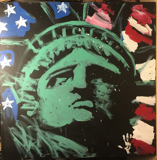 """Lady Liberty 60""""x60"""" On Stretched Canvas"""