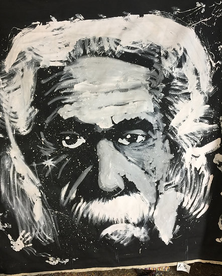 "72""x72"" Albert Einstein Acrylic on Canvas"