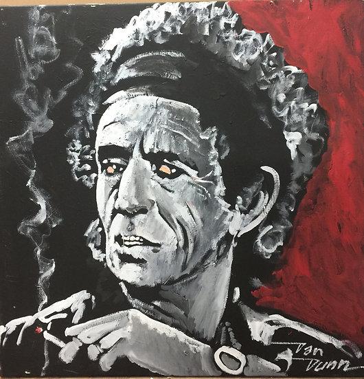 """30""""x30"""" Keith Richards Acrylic on Canvas"""
