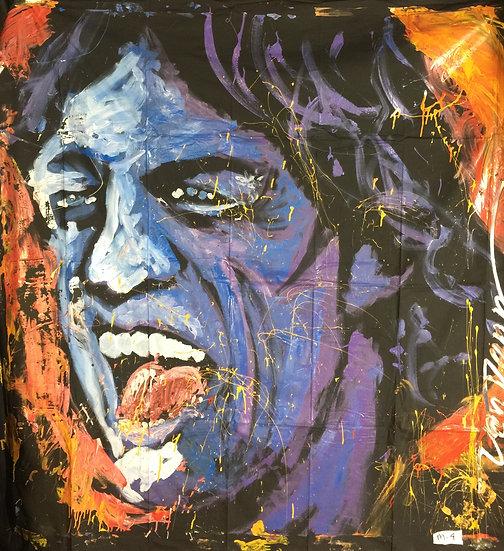 "72""x72"" Mick Jagger Acrylic on Theatrical Muslin"