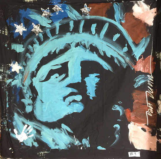 "60""x60"" Lady Liberty Acrylic on Theatrical Muslin"
