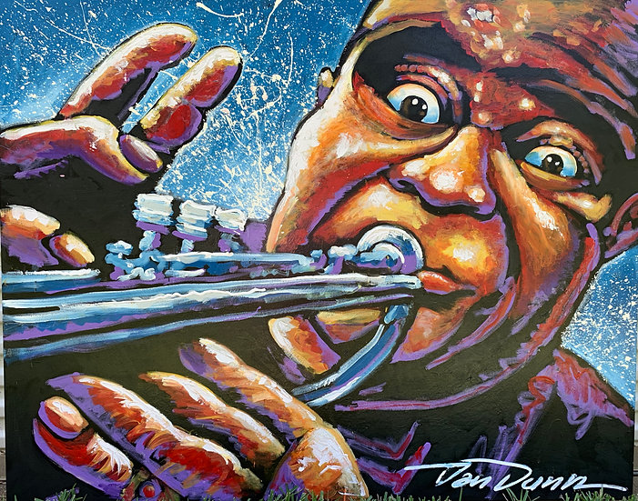 "Louie Armstrong 48""x60"" on Stretched Canvas"