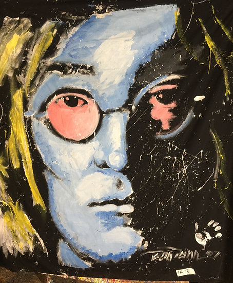 "72""x72"" John Lennon Acrylic on Theatrical Muslin"
